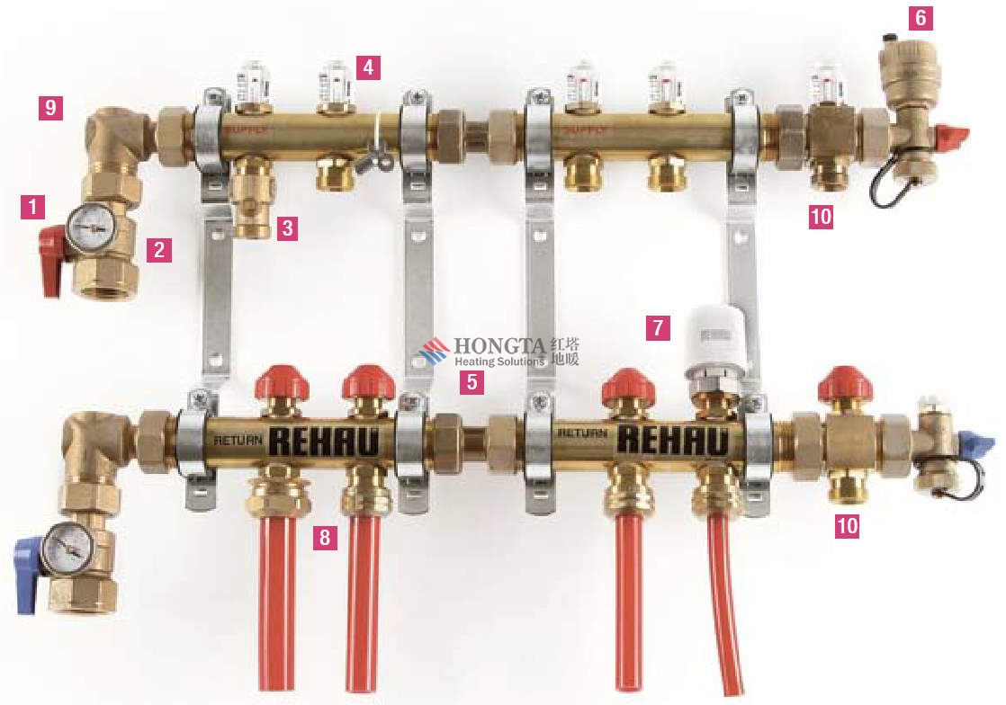 器,从而达到分室控温的要求。 权利要求(3) 1.分路控温北京地暖集水器,由三通阀体1、复位弹簧2、温包3、进水口 4、活塞5、温包顶杆 6、调节柱塞7、保护弹簧8、0形密封圈9、阀帽10、手柄固定环11、调节手柄12、手柄外壳13、 回水口 14组成。其特征是:采用组合式集水器,需要几路回水就把单独的单路回水器组合 起来(图2),便可满足要求。单路回水器内置自动感温元件和调节手柄,用户根据需要可 自行设定温度,感温元件会自动检测房间的回水温度,如果房间回水温度高于温控器设定 的温度,内置感温元件会自动